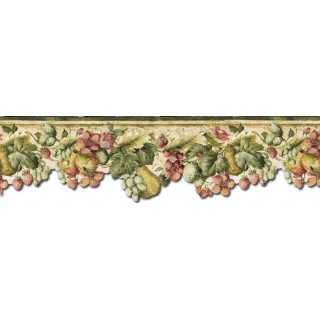 7 3/4 in x 15 ft Prepasted Wallpaper Borders - Fruits and Flowers Wall Paper Border KA75858DC