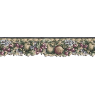 6 1/4 in x 15 ft Prepasted Wallpaper Borders - Fruits Wall Paper Border B75874DC