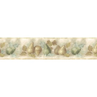 9 in x 15 ft Prepasted Wallpaper Borders - Pear Fruits Wall Paper Border B75879