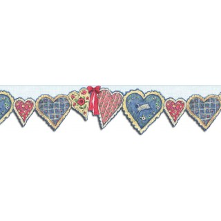 7 in x 15 ft Prepasted Wallpaper Borders - Hearts Wall Paper Border SU75902DC