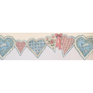 7 in x 15 ft Prepasted Wallpaper Borders - Hearts Wall Paper Border SU75903DC