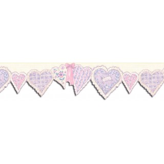 7 in x 15 ft Prepasted Wallpaper Borders - Hearts Wall Paper Border SU75904DC