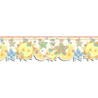 7 in x 15 ft Prepasted Wallpaper Borders - Sun Moon and Stars Wall Paper Border SU75911DC
