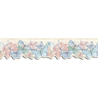 4 1/4 in x 15 ft Prepasted Wallpaper Borders - Butterfly Wall Paper Border SU75928DC