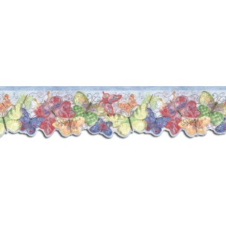 4 1/4 in x 15 ft Prepasted Wallpaper Borders - Butterfly Wall Paper Border SU75929DC