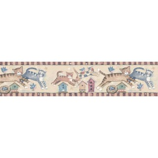7 in x 15 ft Prepasted Wallpaper Borders - Cats Wall Paper Border SU75933