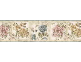 8 1/2 in x 15 ft Prepasted Wallpaper Borders - Floral Wall Paper Border ED76241