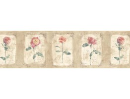 Prepasted Wallpaper Borders - Floral Wall Paper Border ED76253