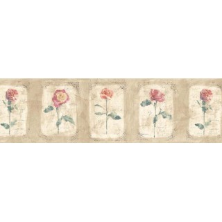 9 in x 15 ft Prepasted Wallpaper Borders - Floral Wall Paper Border ED76253