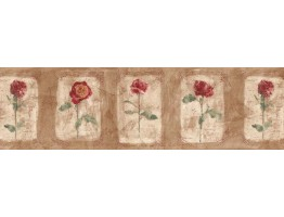 Prepasted Wallpaper Borders - Floral Wall Paper Border ED76255