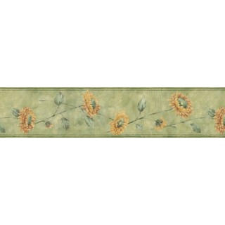 7 in x 15 ft Prepasted Wallpaper Borders - Sunflowers Wall Paper Border ED76264