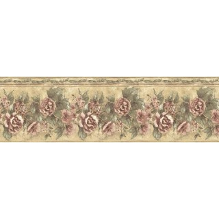 9 1/4 in x 15 ft Prepasted Wallpaper Borders - Floral Wall Paper Border ED76270