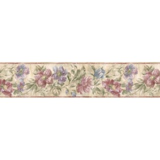 7 in x 15 ft Prepasted Wallpaper Borders - Floral Wall Paper Border ED76272