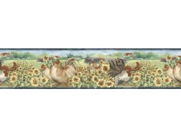 Prepasted Wallpaper Borders - Roosters Wall Paper Border B76314