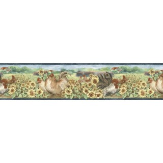 7 in x 15 ft Prepasted Wallpaper Borders - Roosters Wall Paper Border B76314
