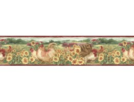 Prepasted Wallpaper Borders - Roosters Wall Paper Border B76315