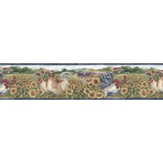 7 in x 15 ft Prepasted Wallpaper Borders - Roosters Wall Paper Border BG76316