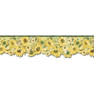 6 1/4 in x 15 ft Prepasted Wallpaper Borders - Sunflowers Wall Paper Border BG76335DC