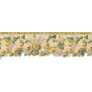 8 7/8 in x 15 ft Prepasted Wallpaper Borders - Roses Wall Paper Border B76340