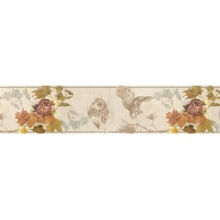 7 in x 15 ft Prepasted Wallpaper Borders - Owl Wall Paper Border B76351