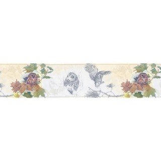 7 in x 15 ft Prepasted Wallpaper Borders - Owl Wall Paper Border B76352