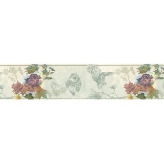 7 in x 15 ft Prepasted Wallpaper Borders - Owl Wall Paper Border B76353