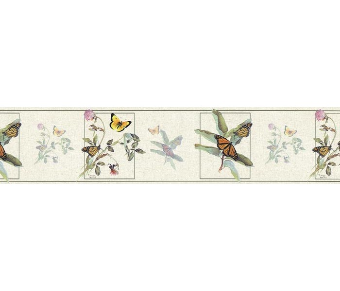 Floral Wallpaper Borders: Butterfly Wallpaper Border B76364