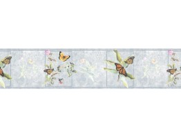7 in x 15 ft Prepasted Wallpaper Borders - Butterfly Wall Paper Border B76366