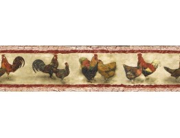 Prepasted Wallpaper Borders - Roosters Wall Paper Border SP76453