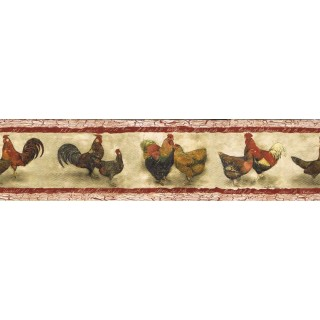 7 in x 15 ft Prepasted Wallpaper Borders - Roosters Wall Paper Border SP76453