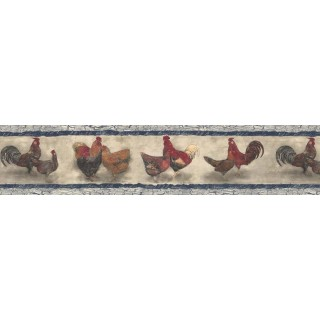7 in x 15 ft Prepasted Wallpaper Borders - Roosters Wall Paper Border B76454