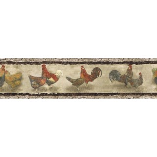 7 in x 15 ft Prepasted Wallpaper Borders - Roosters Wall Paper Border B76455
