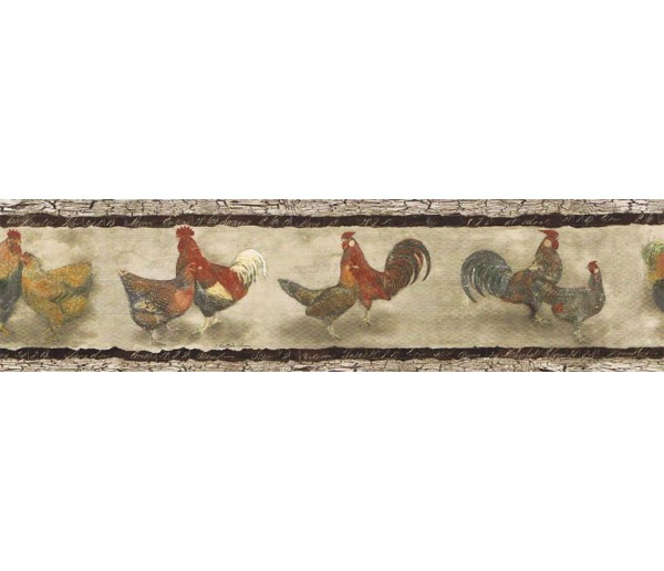 Prepasted Wallpaper Borders - Roosters Wall Paper Border B76455