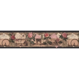 7 in x 15 ft Prepasted Wallpaper Borders - Roses Wall Paper Border B76476