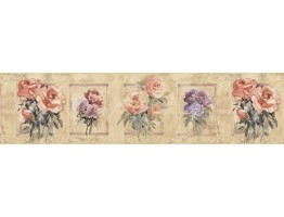 7 in x 15 ft Prepasted Wallpaper Borders - Floral Wall Paper Border SP76486