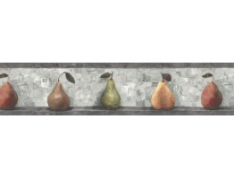 Prepasted Wallpaper Borders - Pear Fruits Wall Paper Border SP76487