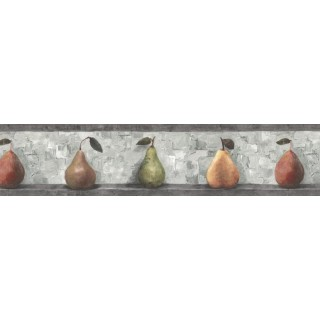 7 in x 15 ft Prepasted Wallpaper Borders - Pear Fruits Wall Paper Border SP76487