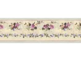 5 1/4 in x 15 ft Prepasted Wallpaper Borders - Floral Wall Paper Border B76555