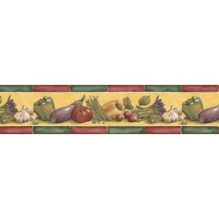 7 in x 15 ft Prepasted Wallpaper Borders - Vegetables Wall Paper Border B76661