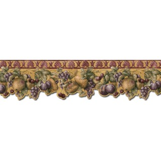 8 in x 15 ft Prepasted Wallpaper Borders - Fruits Wall Paper Border B76664DC