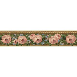 5 1/4 in x 15 ft Prepasted Wallpaper Borders - Floral Wall Paper Border CN76726