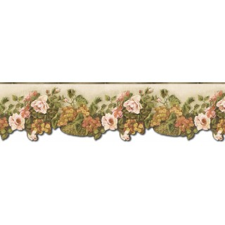 6 1/2 in x 15 ft Prepasted Wallpaper Borders - Floral Wall Paper Border WD76823DC