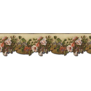 6 1/2 in x 15 ft Prepasted Wallpaper Borders - Floral Wall Paper Border WD76825DC