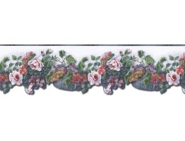 6 1/2 in x 15 ft Prepasted Wallpaper Borders - Floral Wall Paper Border WD76826DC