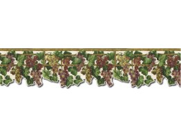 Prepasted Wallpaper Borders - Grape Fruits Wall Paper Border WD76836DC