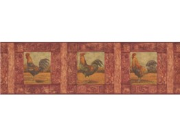 Prepasted Wallpaper Borders - Roosters Wall Paper Border WD76841