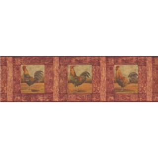 7 in x 15 ft Prepasted Wallpaper Borders - Roosters Wall Paper Border WD76841