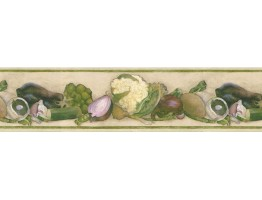 6 7/8 in x 15 ft Prepasted Wallpaper Borders - Vegetables Wall Paper Border B76973