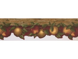 6 3/4 in x 15 ft Prepasted Wallpaper Borders - Apple Fruits Wall Paper Border KL76981DC