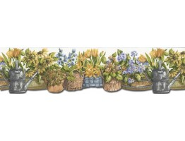 7 in x 15 ft Prepasted Wallpaper Borders - Garden Wall Paper Border KL76986DC